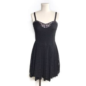 Free People Black Ribbon Lace Tulle Beaded Dress